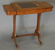 Maitland Smith leather covered gaming table with backgammon and chess board, ht. 30 in.; wd. 33 in.