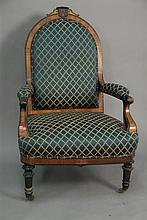 Victorian ebonized and exotic wood gents chair.