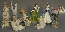 Eight Lladro figures and two Doulton figures.