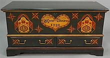 Reproduction Pennsylvania style chest with lift top and two drawers, lg. 48