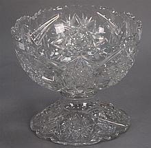 Cut glass two part punch bowl, ht. 9