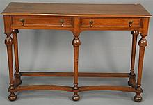 Walnut William and Mary style hall table, ht. 32 in.; wd. 48 in.