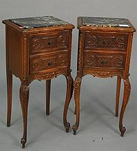 Pair of walnut side tables with inset marble tops signed Revells Chicago, ht. 30 in.; top: 12