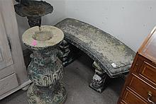 Group of three outdoor pieces to include a cement bench, bird bath and base of a cement bird bath.