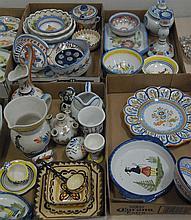 Five box lots of Quimper including vases, serving pieces, pitchers, plates, bowls, etc.
