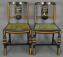 Pair of painted sailing ship chairs