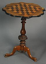Small Victorian game table with inlaid checker board top, ht. 27 in.; top: 21 1/2