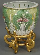 Large porcelain Oriental fish bowl on stand, ht. 26 in.; dia. 18 in.