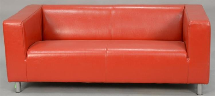 Modern red leather tuxedo sofa. lg. 70