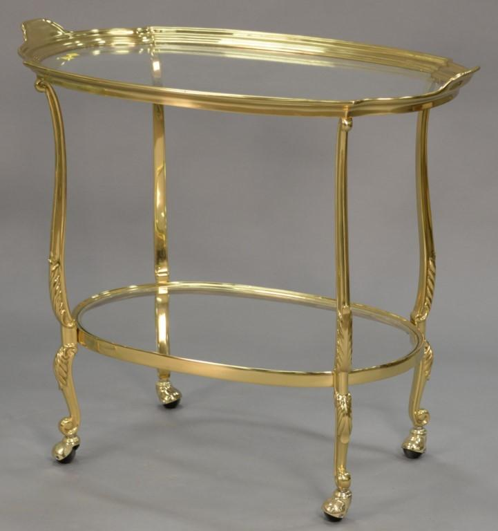 Brass and glass tea cart. ht. 32