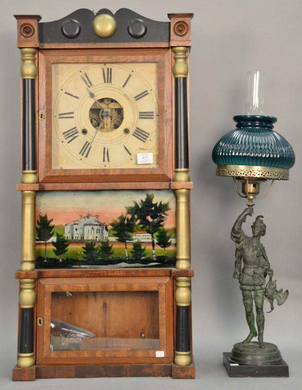 Federal mahogany three-part shelf clock with reverse painted eglomise center panel (cracked). ht. 36
