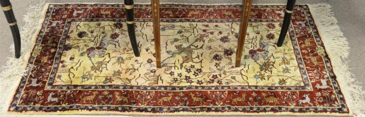 Silk Oriental throw rug, 2'3