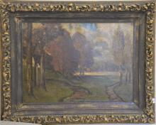 E.A. Horn, Fall Landscape, oil on canvas, signed lower right E.A. Horn, 27