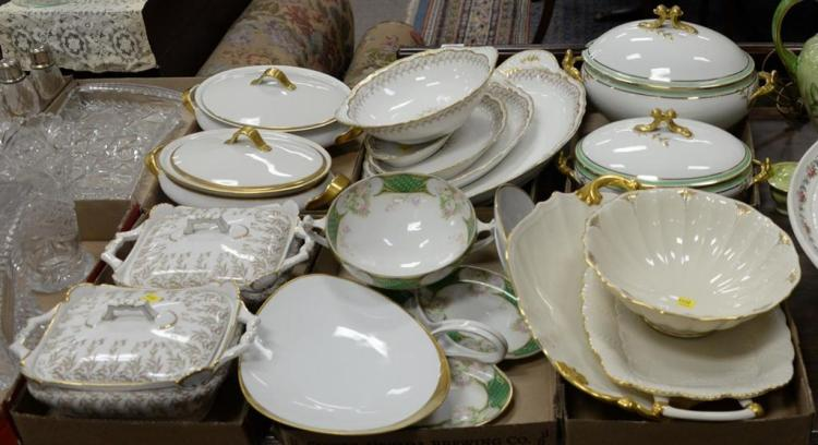 Six tray lots of porcelain serving pieces, trays, bowls, and tureens by KPM, Limoges, Lenox, etc. plus two pitchers, large porcelain...