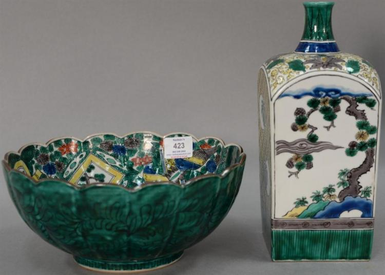Two Famille Verte pieces including bowl and square bottle.