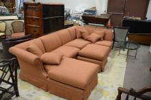 Four piece sectional livingroom set with custom upholstery. lg. 118in.