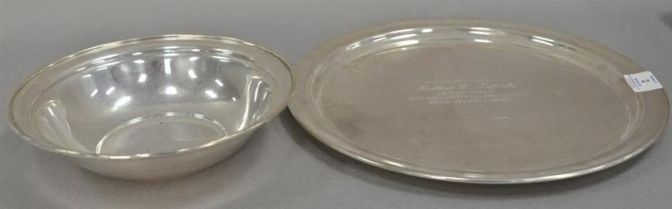 Two piece lot of sterling silver to include Kirk bowl and large round tray. 34.67 t oz.