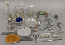 Two tray lots of silver, mostly weighted pieces plus jar, crystal, and cobalt basket. 8.16 weighable t oz.