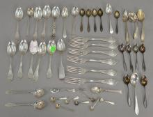 Silver and coin silver lot, mostly spoons. 28.64 t oz.