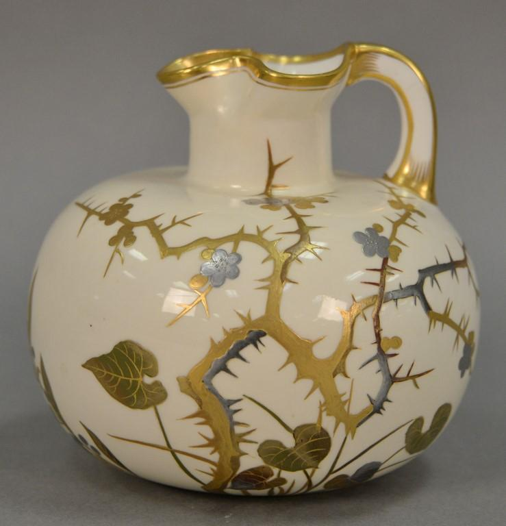 Minton's Mess Caldwell & Co. Philadelphia porcelain ewer hand painted with heavy gold and silver in Japanese style of blossoming tho..