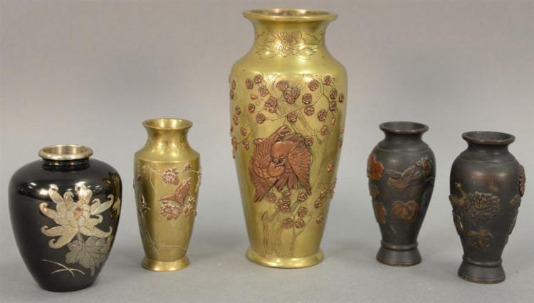 Five bronze vases including pair of multimetal; Oriental style bronze vase with applied copper and brass leaf, flowers, and birds; s...