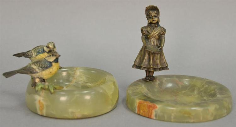 Two bronzes with alabaster trays including Austrian cold painted birds with round tray (ht. 3