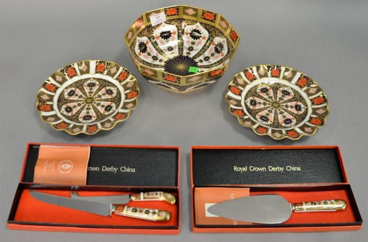 Group of Royal Crown Derby to include a pair of fluted plates, knife set and cake knife (both in box), and Royal Crown Derby Old Ima...