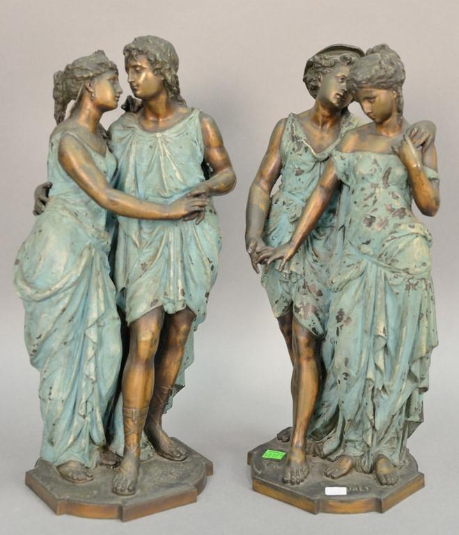 Pair of Eutrope Bouret (1833-1906) France bronze double figures of a man and woman, painted. ht. 17in.