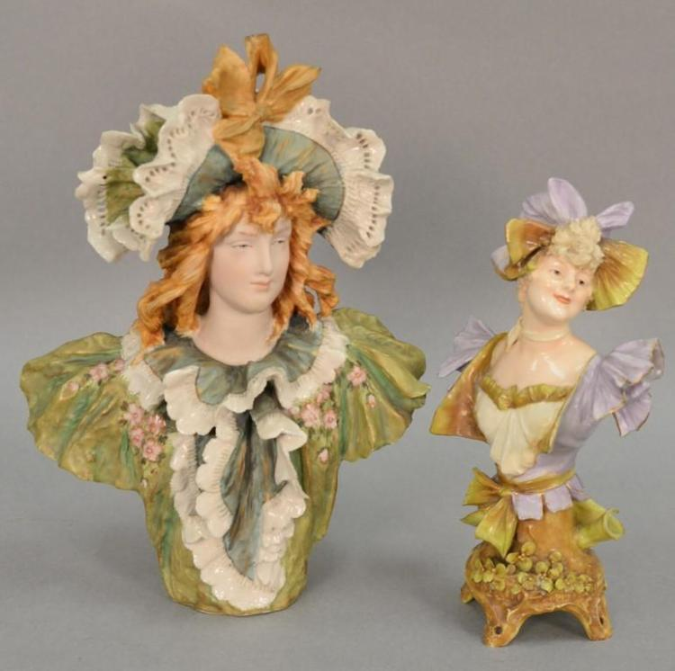 Two Turn Teplitz RS&K porcelain figural bust of a Victorian woman. ht. 9