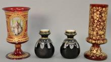 Four piece art glass group to include a pair of small black glass vases with white enamel (ht. 4