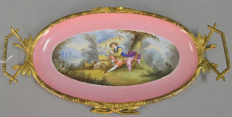 Ormolu mounted Choisy-Le-Roi pin ground porcelain tray with painted country landscape, impressed Choisy-Le-Roi Granit Medaille D'or...