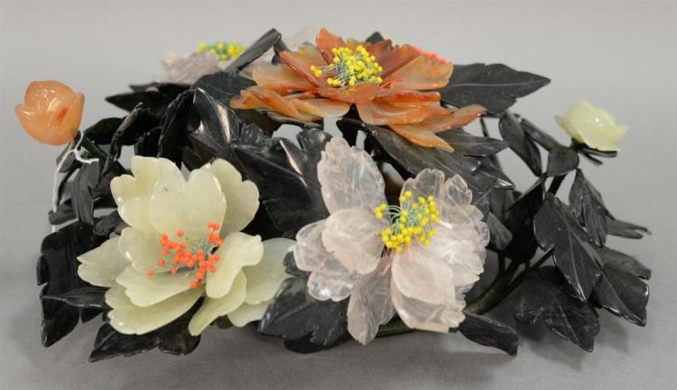 Hardstone flower arrangement to include jade, quartz, etc. ht. 6 1/2in., dia. 16in.