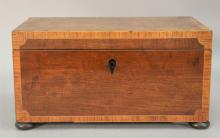 Mahogany inlaid tea box with banded inlaid trim inside and outside, 19th century. ht. 6 1/2in., wd. 12 1/4in.