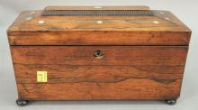 Rosewood tea box with mother of pearl inlay, 19th century.