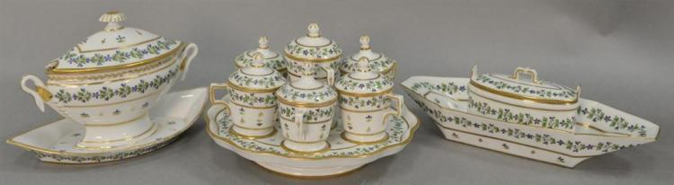 Ten piece Paris Porcelain condiment set including covered sauce boat, condiment tray with seven covered containers, and one covered ...