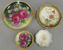 Group of porcelain hand painted flower plates to include a set of six Limoges France plates, five flower bread plates (dia. 9