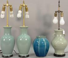 Four porcelain glazed vases (three made into table lamps). ht. 10in. to 27 1/4in.