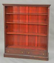 Mahogany bookcase with drawers. ht. 59in., wd. 50in., dp. 14in.