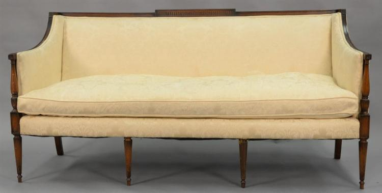 Pair of Sheraton style sofa. (stains). lg. 70in.