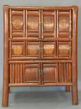 Bamboo Chinese style cabinet. ht. 61in., wd. 43in., dp. 22 1/2in.