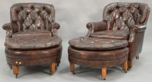 Pair of brown leather easy chairs and ottomans.