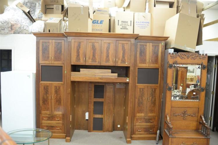 Custom made walnut and burl walnut TV cabinet. ht. 95in., wd. 115in., dp. 21in.