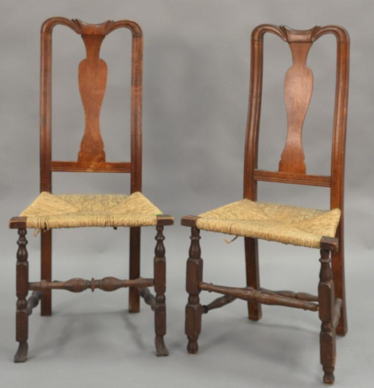 Two country Queen Anne side chairs, circa 1750.