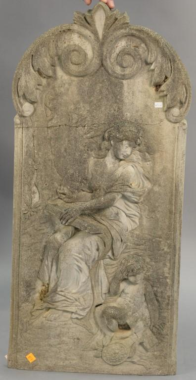 Limestone wall hanging with three dimensional woman and child, 19th century (slight crack not through). ht. 36in., wd. 16in.