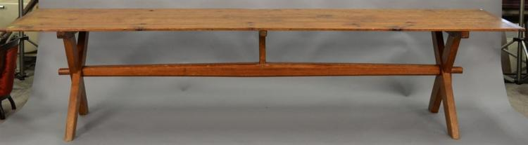 Sawbuck style dining table. ht. 29in., top: 2'7