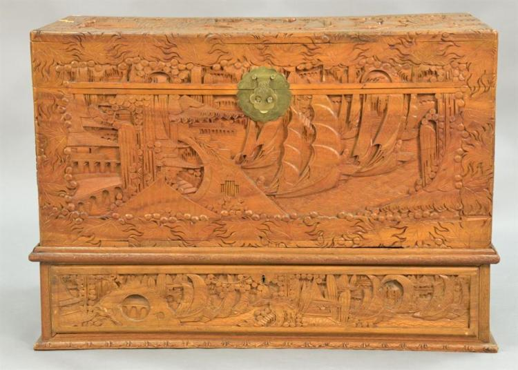 Carved camphorwood Chinese cheston base with a drawer. ht. 20in., wd. 40in., dp. 20in.