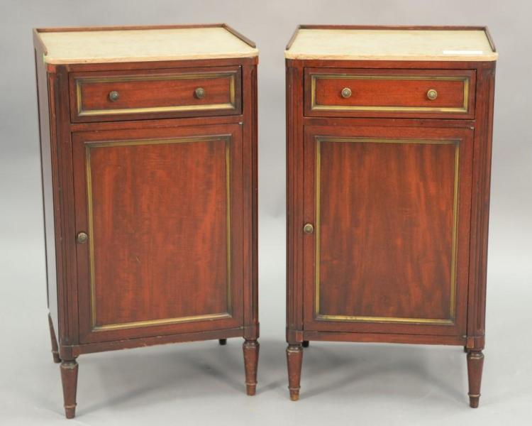 John Widdecomb pair of marble top night tables. ht. 29in.; top: 62