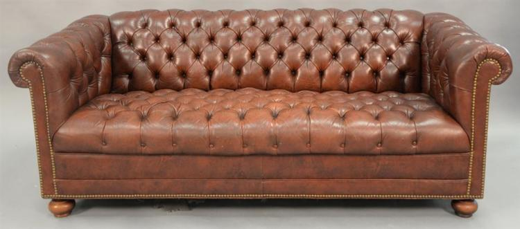 Chesterfield leather sofa. wd. 74in.