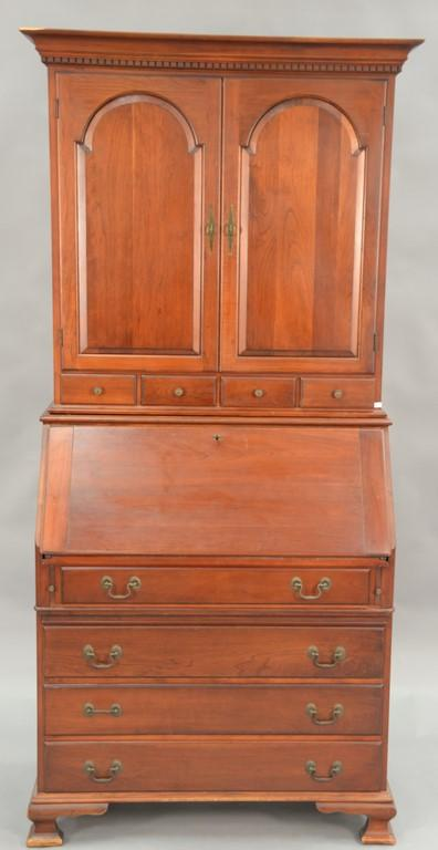 Cherry Chippendale style secretary desk, Pennsylvania House. ht. 79 1/2in.; wd. 36in.; dp. 18in.
