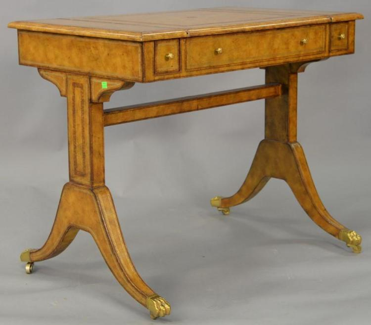 Maitland Smith games table with leather surfaces and backgammon and chess boards and four small drawers. ht. 29 1/2in., top: 23